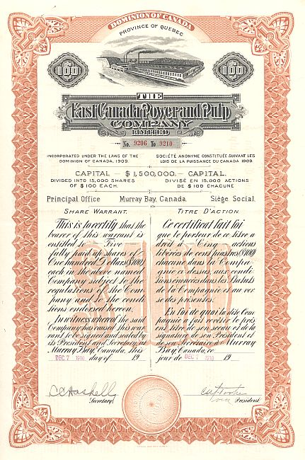 East Canada Power and Pulp Company (Kanada) historic stocks - old certificates
