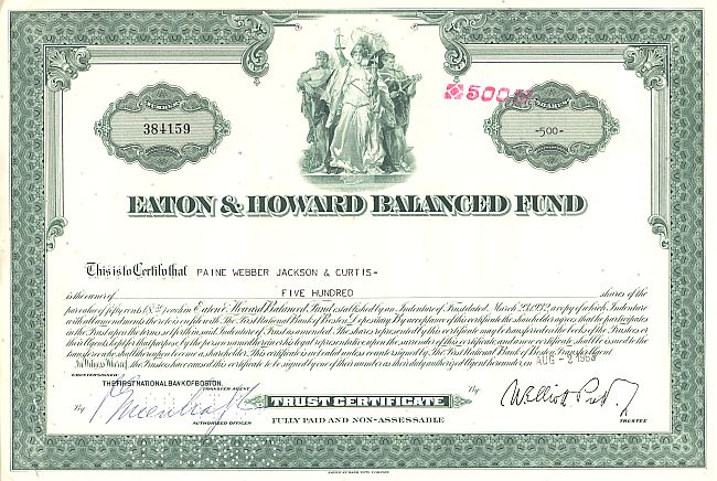 Eaton and Howard Balanced Fund historic stocks - old certificates