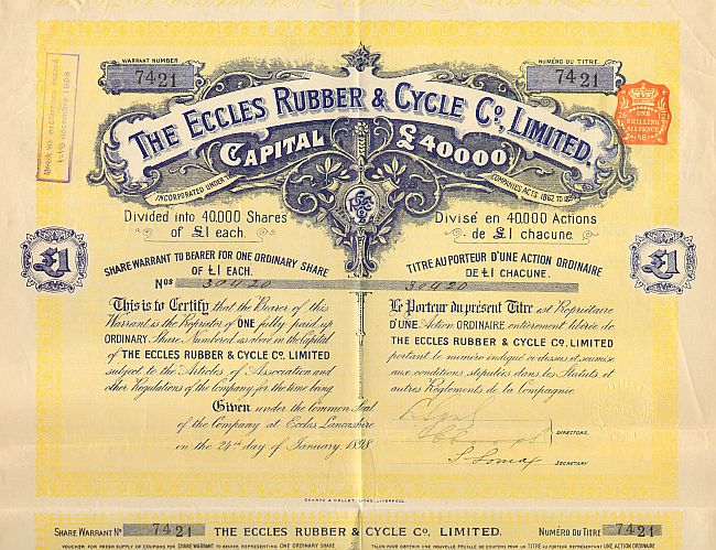 Eccles Rubber & Cycle Co., Limited historic stocks - old certificates