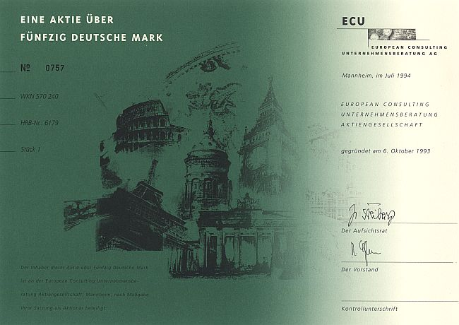 ECU - European Consulting Unternehmensberatung AG historic stocks - old certificates