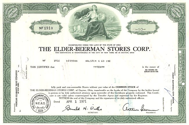 Elder-Beermann Stores Corp. historic stocks - old certificates