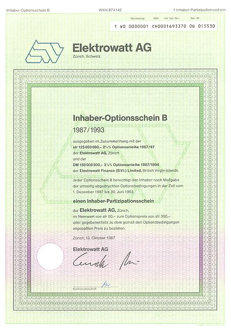 Elektrowatt AG (Schein B) historic stocks - old certificates