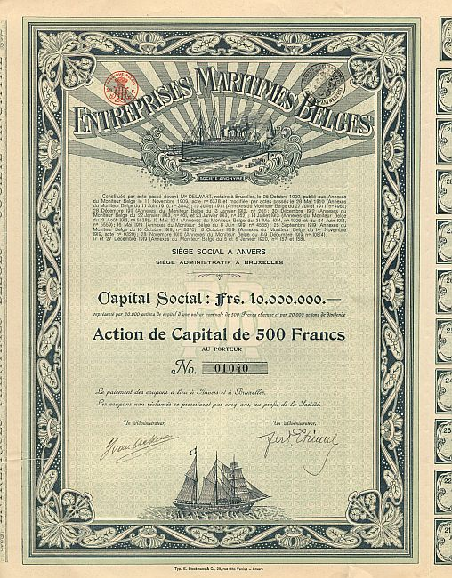 Entreprises Maritimes Belges historic stocks - old certificates