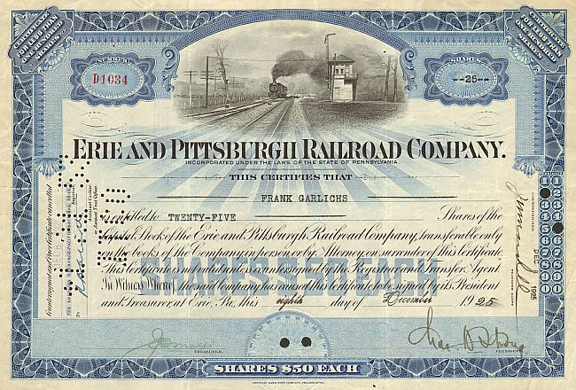 Erie and Pittsburgh Railroad Company historische Wertpapiere - alte Aktien