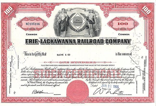 Erie Lackawanna Railroad Company historic stocks - old certificates