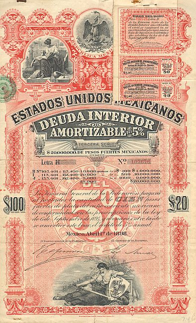 Estados Unidos Mexicanos (United States of Mexico) 1898 100$ -  historic stocks - old certificates Cities and States