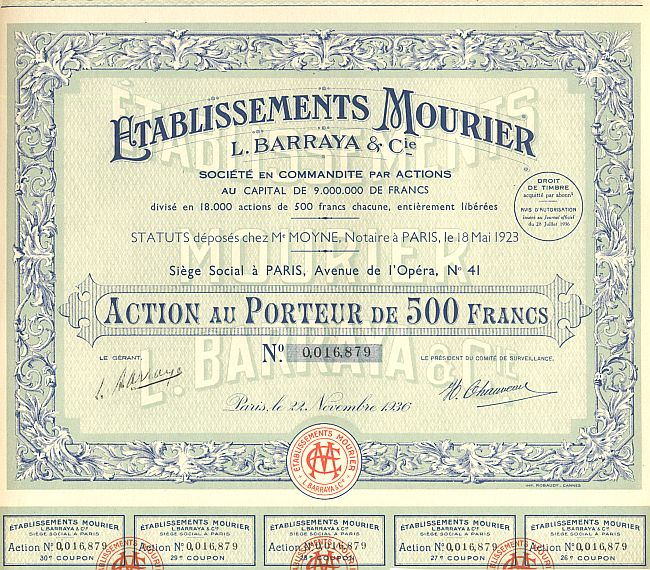 Etablissements Mourier historic stocks - old certificates