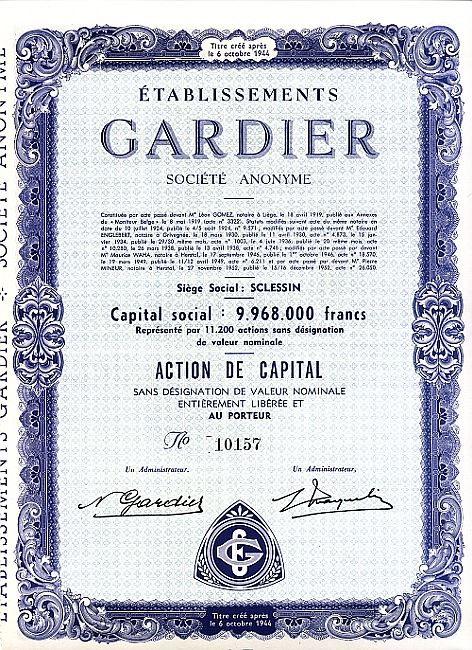 Etablissements Gardier historic stocks - old certificates