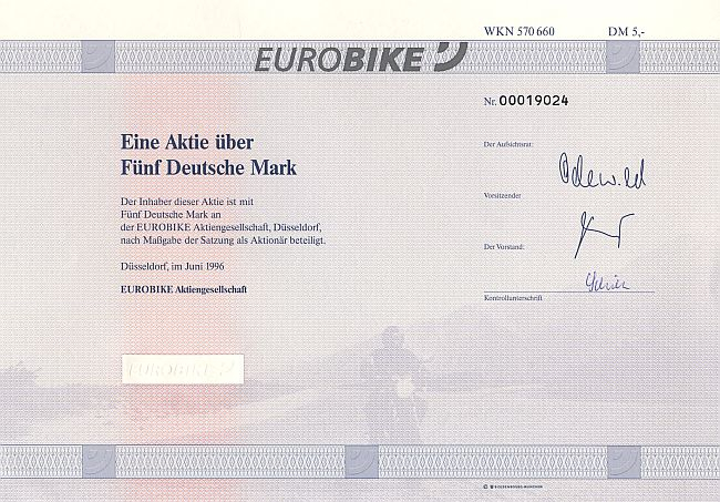 Eurobike historic stocks - old certificates