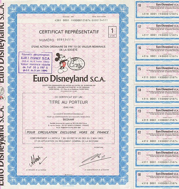Euro Disneyland S.C.A. (mit Coupons) historic stocks - old certificates