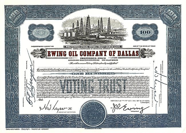 Ewing Oil Company of Dallas (Juxaktie) historic stocks - old certificates