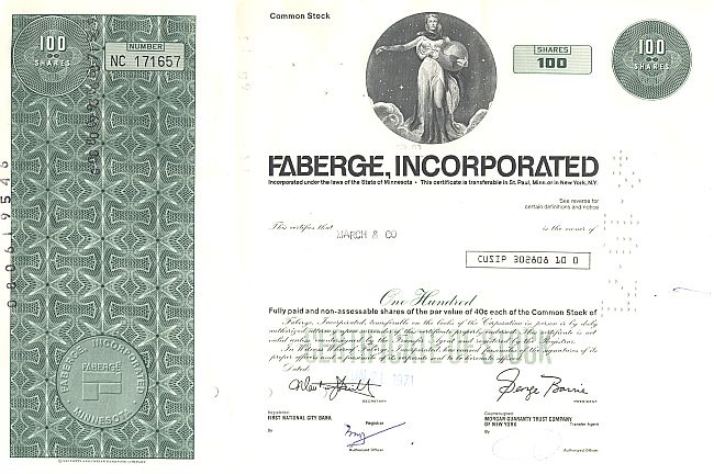 Faberge, Incorporated historic stocks - old certificates