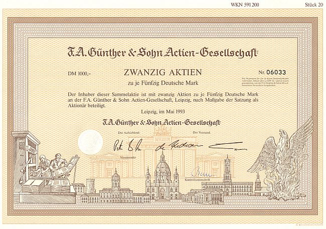 F.A. Günther & Sohn Actien-Gesellschaft (20er) historic stocks - old certificates