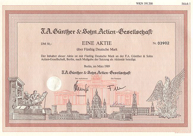 F.A. Günther & Sohn Actien-Gesellschaft historic stocks - old certificates