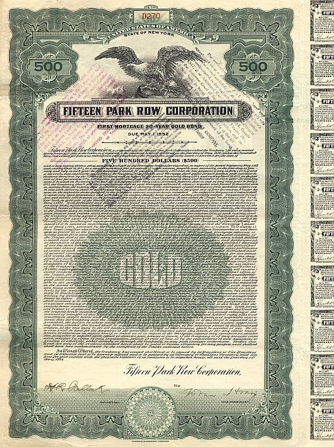 Fifteen Park Row Corporation historic stocks - old certificates