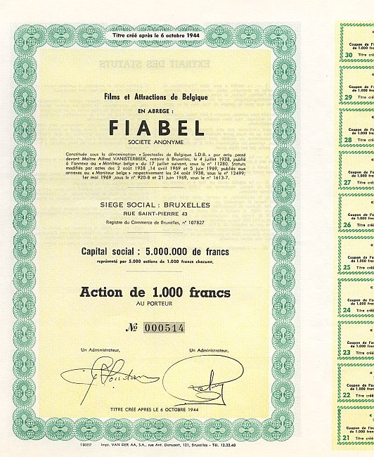 Films et Attractions de Belgique FIABEL historic stocks - old certificates