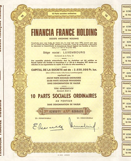 Financia France Holding historic stocks - old certificates