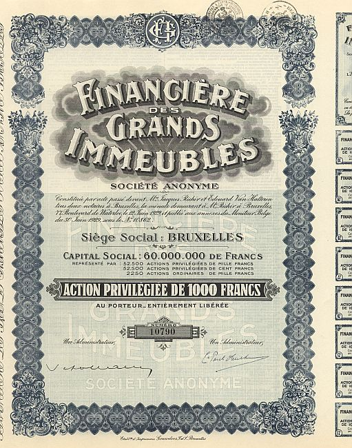 Financiere des Grands Immeubles historic stocks - old certificates