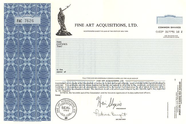 Fine Art Acquisitiors, Ltd. historic stocks - old certificates