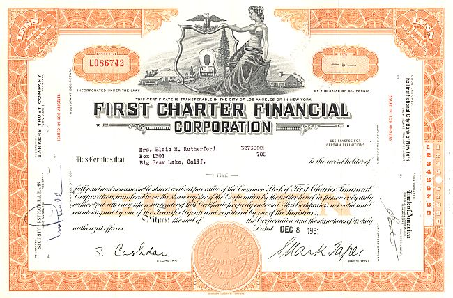 First Charter Financial historic stocks - old certificates