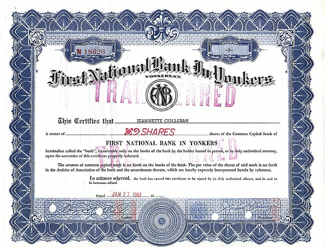 First National Bank in Yonkers historic stocks - old certificates