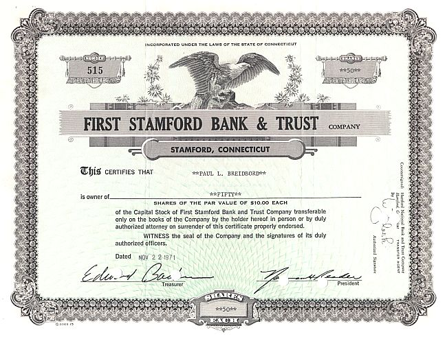 First Stamford Bank & Trust historic stocks - old certificates