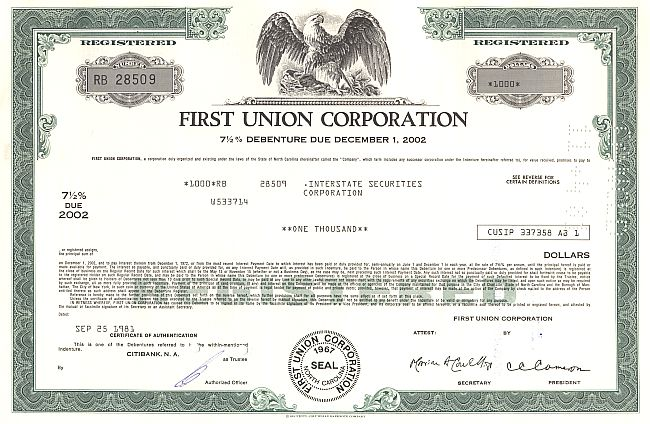 First Union Corporation historische Wertpapiere - alte Aktien