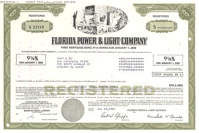 Florida Power & Light Company historische Wertpapiere - alte Aktien