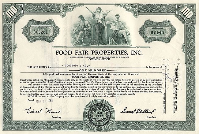 Food Fair Properties Inc. historic stocks - old certificates