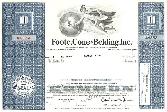 Foote, Cone and Belding Inc. historic stocks - old certificates