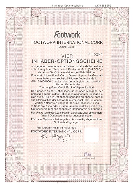 Footwork International Corp. historic stocks - old certificates