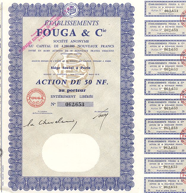 Etablissements Fouga & Cie historic stocks - old certificates