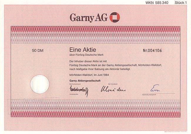 Garny AG historic stocks - old certificates