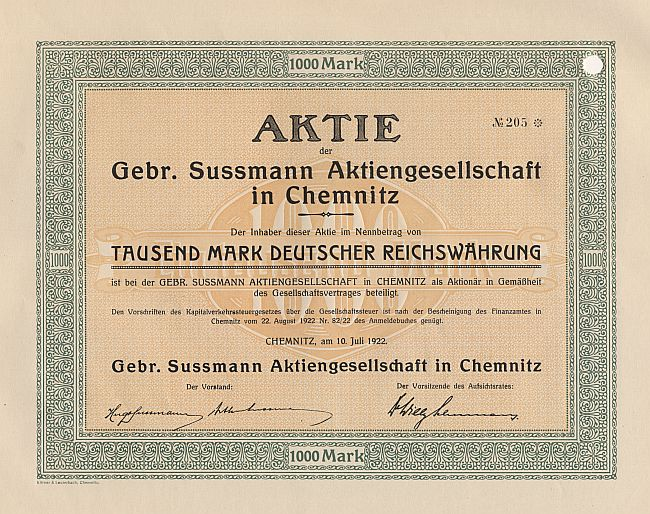Gebr. Sussmann Aktiengesellschaft in Chemnitz historic stocks - old certificates