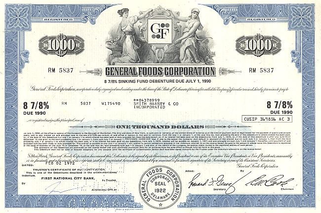 General Foods Corporation historic stocks - old certificates