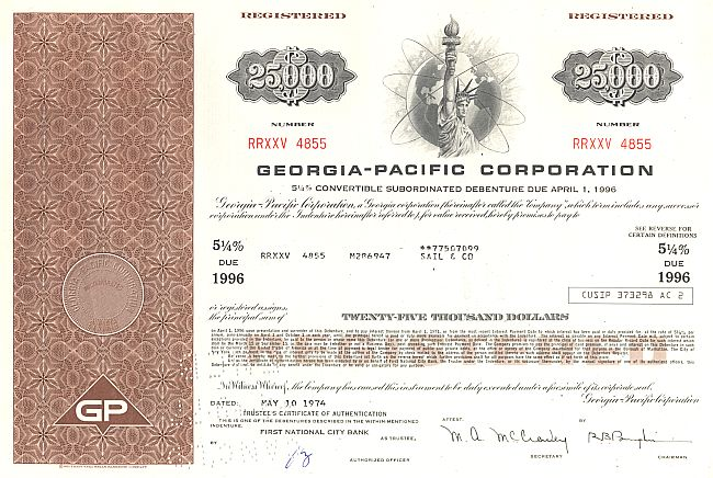 Georgia-Pacific Corporation historic stocks - old certificates