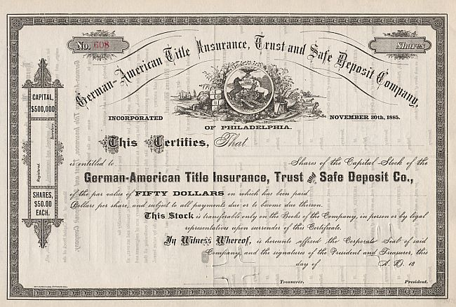 German-American Title Insurance, Trust and Safe Deposit Company historic stocks - old certificates