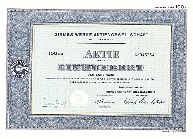 Girmes-Werke Aktiengesellschaft (1969) -  historic stocks - old certificates Textile Industry