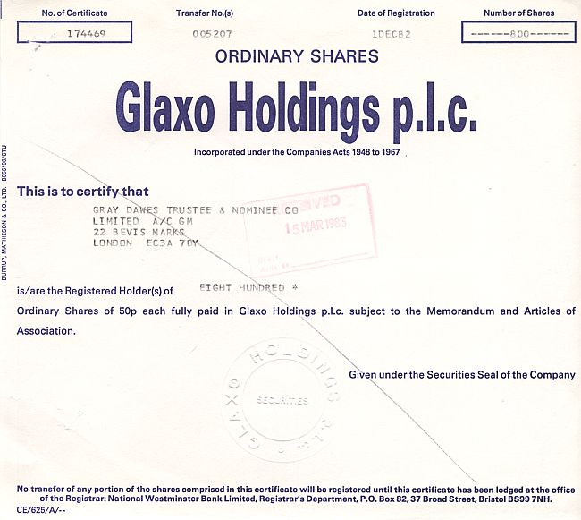 Glaxo Holdings p.l.c. historic stocks - old certificates