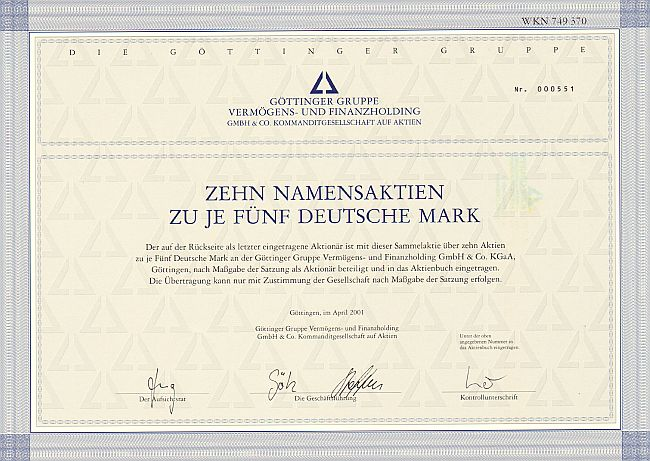 Göttinger Gruppe Vermögens- und Finanzholding historic stocks - old certificates