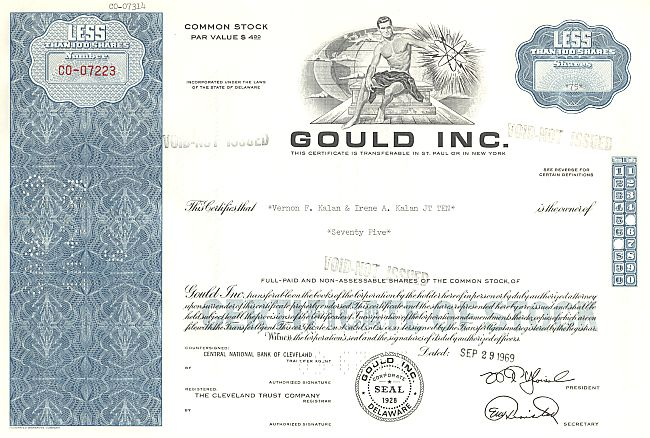 Gould Inc. historic stocks - old certificates