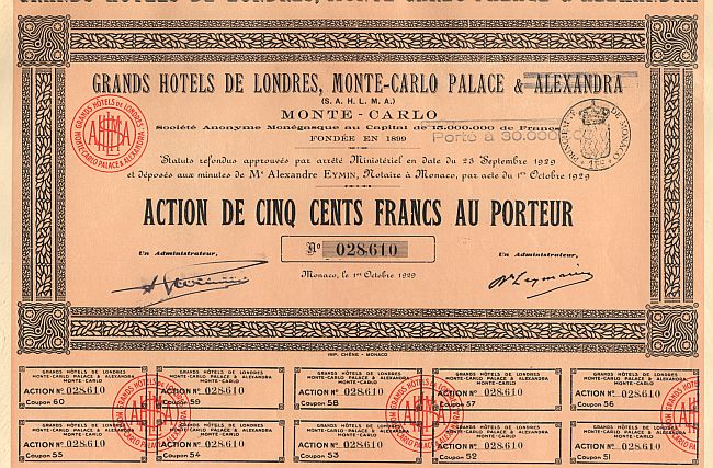 Grands Hotels de Londres, Monte-Carlo Palace & Alexandra historic stocks - old certificates
