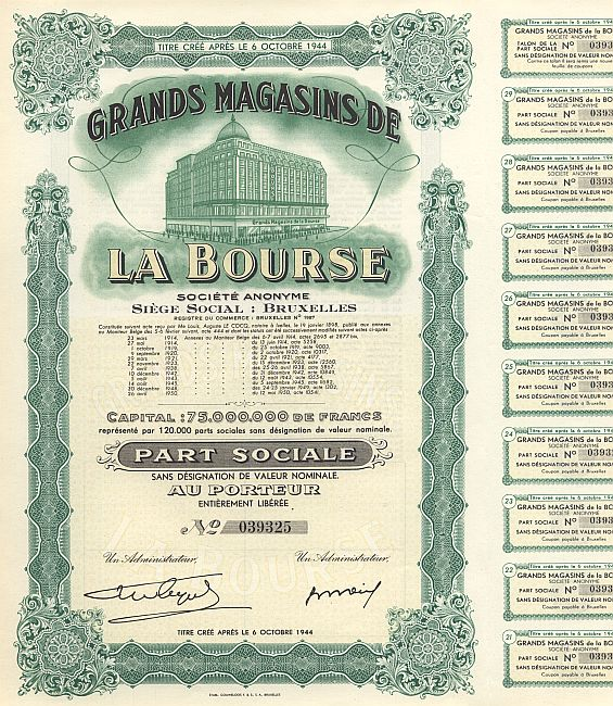Grands Magasins de la Bourse historic stocks - old certificates
