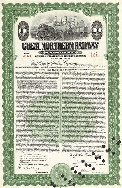 Great Northern Railway Company historic stocks - old certificates