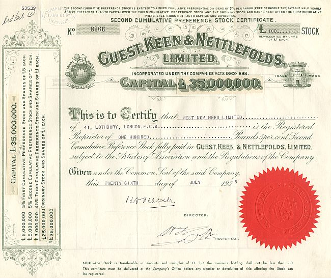 Guest, Keen & Nettlefolds Limited historic stocks - old certificates