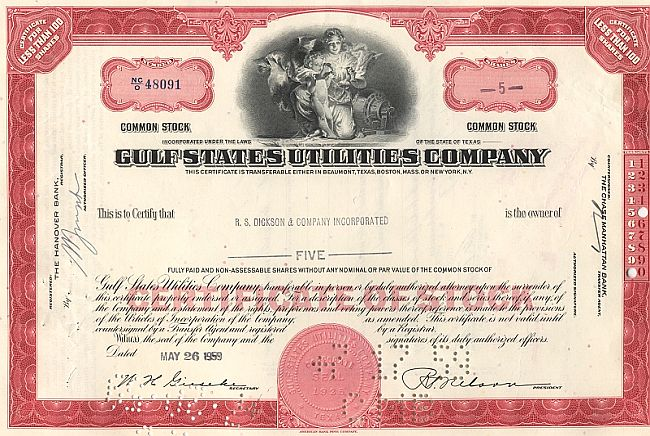 Gulf States Utilities Company (alte Ausgabe) historic stocks - old certificates