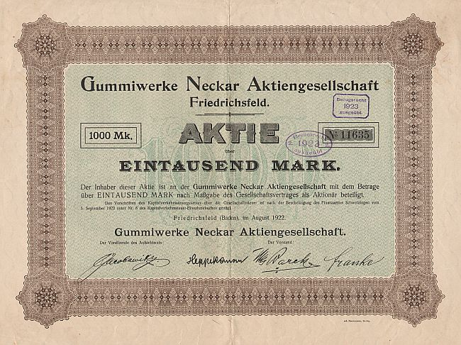 Gummiwerke Neckar Aktiengesellschaft historic stocks - old certificates
