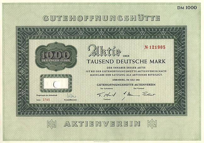 Gutehoffnungshütte (1954) historic stocks - old certificates