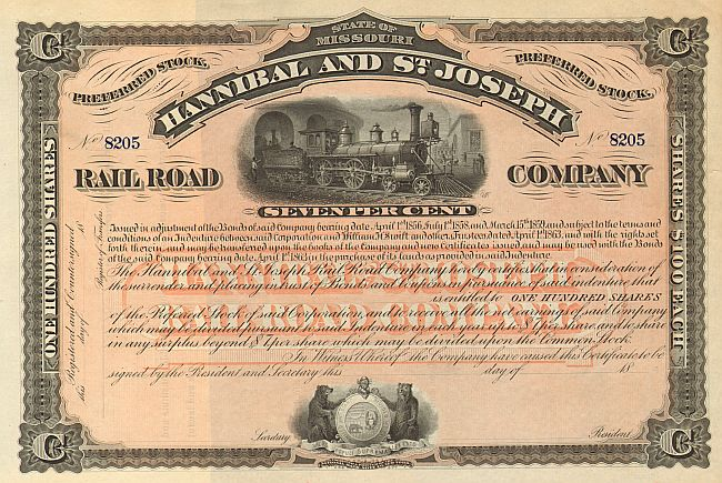Hannibal and St. Joseph Railroad Company  historic stocks - old certificates