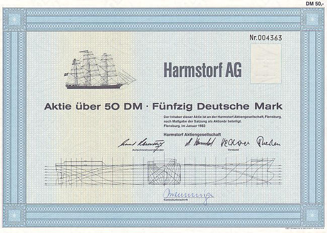 Harmstorf AG historic stocks - old certificates